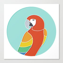 Rainbow Parrot on Mint Canvas Print