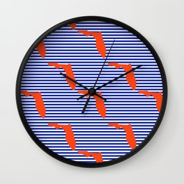 Florida university gators orange and blue college sports football stripes pattern Wall Clock