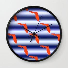 Florida university gators orange and blue college sports football stripes pattern Wall Clock