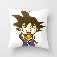 dragonball Throw Pillows featuring Young Goku with dragonball by Samtronika