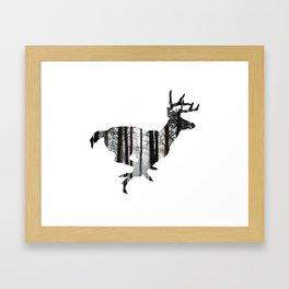 Deer forest winter silhouette Framed Art Print