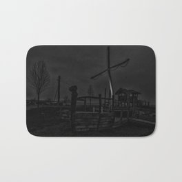 Ghost Ship in Black and White - Art Photography Bath Mat