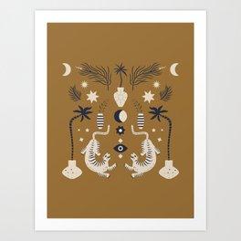 Mid Century Magic Cool Minimal Minimalist Neutral Tones Fantasy Abstract Illustration Moon Sun Tiger Chinese Zodiac Art Print
