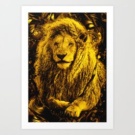 Golden lion king Art Print