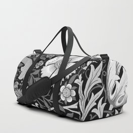 Black and White Floral Pattern Duffle Bag