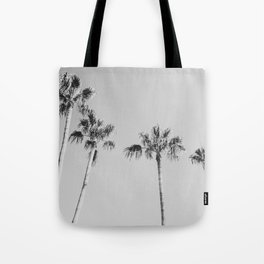 Black Palms // Monotone Gray Beach Photography Vintage Palm Tree Surfer Vibes Home Decor Tote Bag