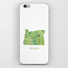 Oregon Counties watercolor map iPhone Skin
