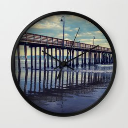 Just Wondering along the beach at Cayucos Pier Wall Clock