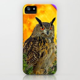 LONG-EARED OWL & MOON PANTENE PURPLE  ART DESIGN iPhone Case
