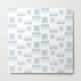 Pale Blue & Gray Textured Tile Square Simple Checkerboard Pattern Home Goods Metal Print