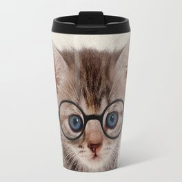 Kitten with Glasses Travel Mug