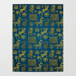 Aztec ancient animal gold symbols on teal Poster
