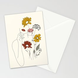 Colorful Thoughts Minimal Line Art Woman with Flowers III Stationery Cards