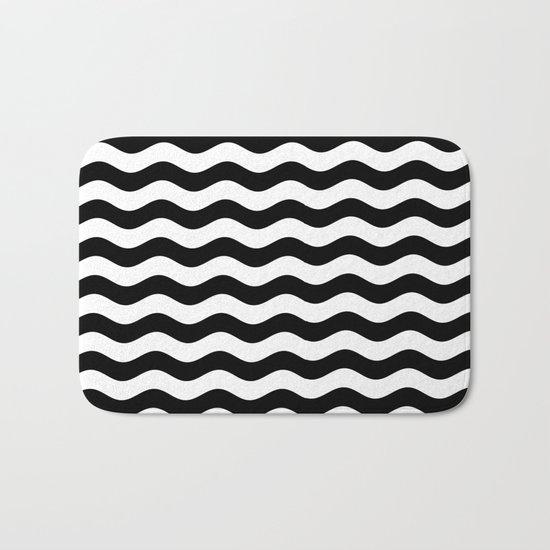Wavy Stripes (Black/White) Bath Mat