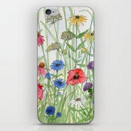 Watercolor of Garden Flower Medley iPhone Skin