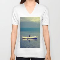 rowing V-neck T-shirts featuring rowing a boat in egirdir lake by gzm_guvenc