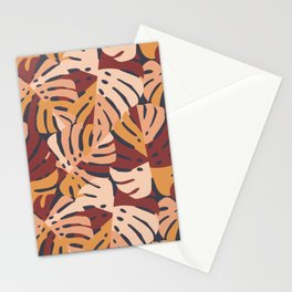 Color Block Monstera Leaves in Maroon Stationery Cards