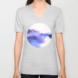 Purple Sky, White Light - abstract Unisex V-Neck