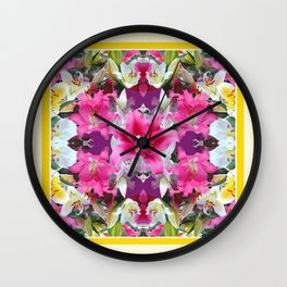 PINK & WHITE LILY GARDEN  YELLOW ABSTRACT Wall Clock