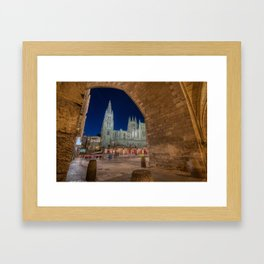 Night view of Burgos Cathedral in Spain. Framed Art Print