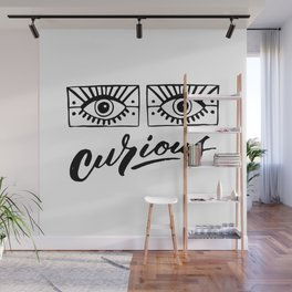 Curious. Trendy print with eyes. Handdrawn illustration. Wall Mural