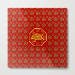 Golden Tortoise / Turtle Feng Shui on red Metal Print