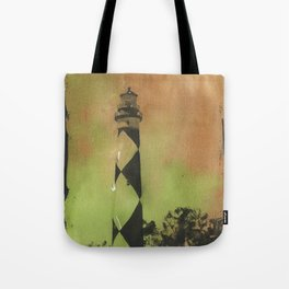 Cape Lookout lighthouse on the Outer Banks, North Carolina.  Watercolor painting of Cape Lookout lighthouse beach artwork home decor lighthouse NC lighthouse painting watercolor Tote Bag