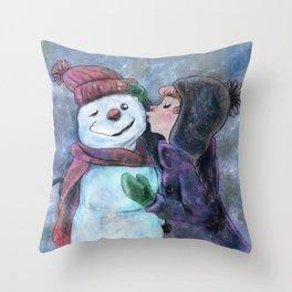 Kiss a snowman Throw Pillow