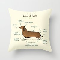 anatomy Throw Pillows featuring Anatomy of a Dachshund by Sophie Corrigan