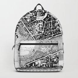Vintage Map of Frankfurt Germany (1845) BW Backpack