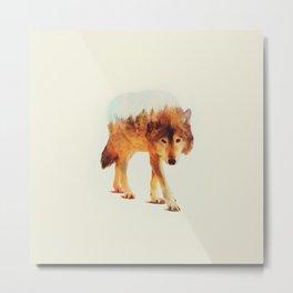 wolf in the wood Metal Print