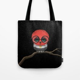 Baby Owl with Glasses and Egyptian Flag Tote Bag