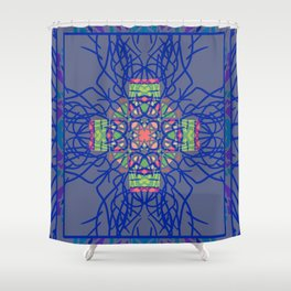 Dark Blue and Gray Neon Boho Ethnic Mandala Shower Curtain
