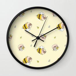 Pug Bee Pattern Wall Clock