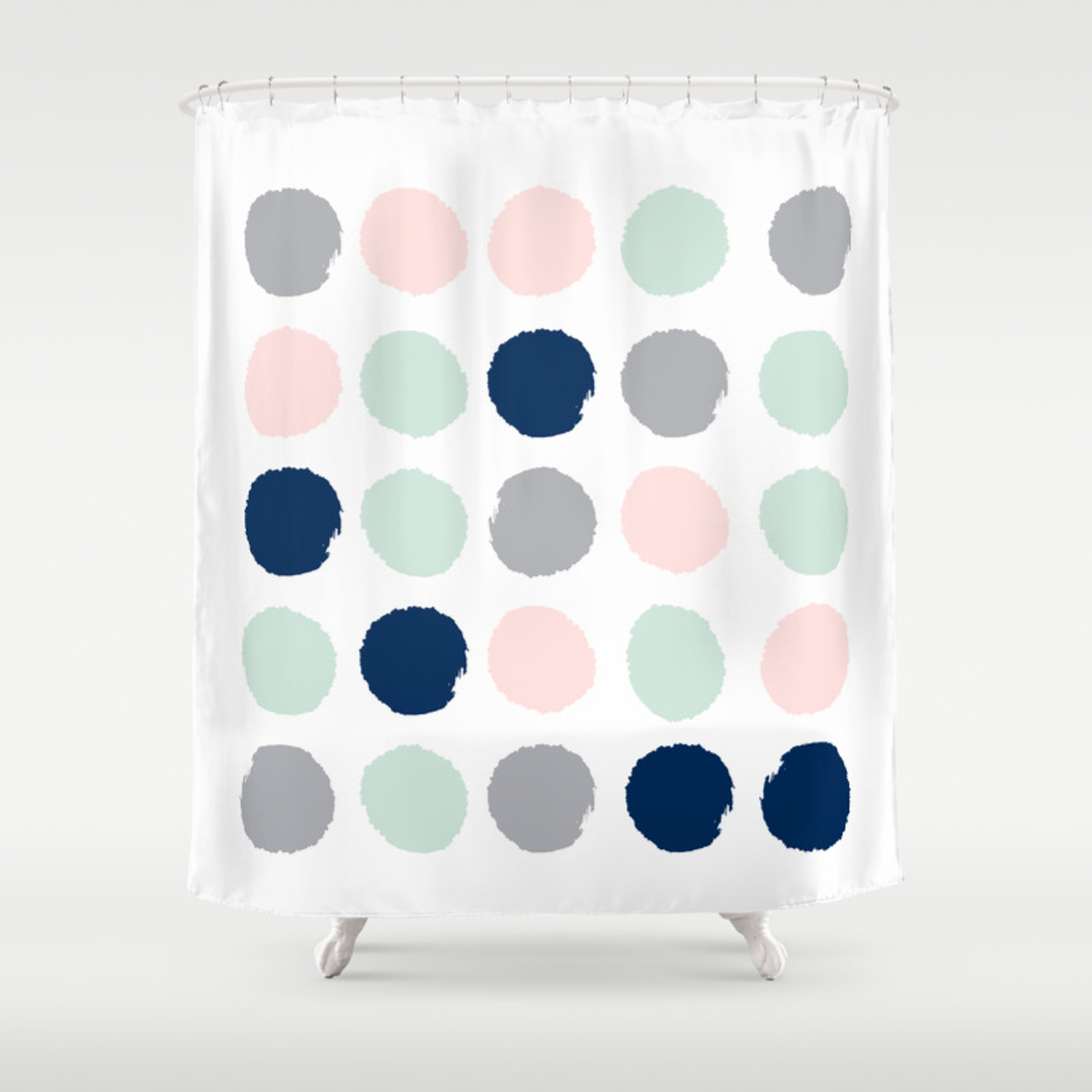 Trendy Color Palette Minimal Painted Dots Polka Dot Minimalist Pink Mint Grey Navy Shower Curtain By Charlottewinter Society6