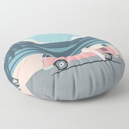 Surfer Graphic Beach Palm-Tree Camper-Van Art Floor Pillow