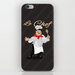 Le Chef Kitchen decor French chef with a mustache cartoon character illustration iPhone Skin