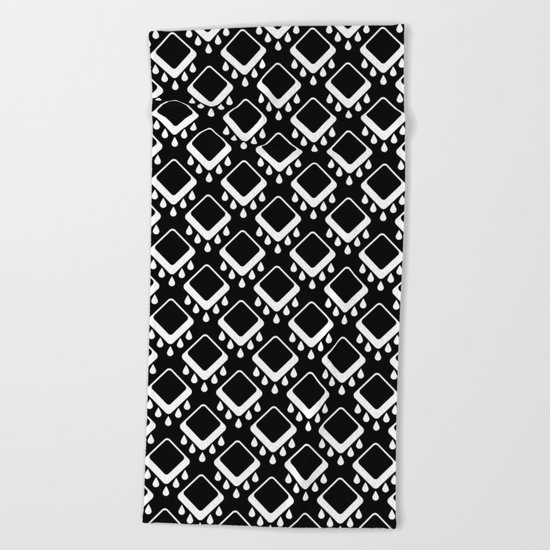 Abstract colorful geometric pattern . Black white . Beach Towel
