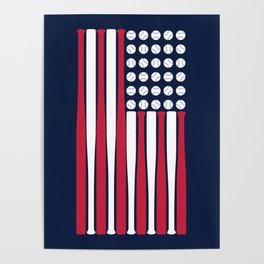 USA Baseball Flag Poster