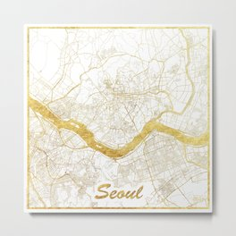Seoul Map Gold Metal Print