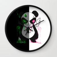 pandas Wall Clocks featuring Pandas by Chocoeva