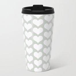 Gray Grey Hearts Sea Salt Metal Travel Mug