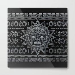 Aztec Sun God - Stone on Black Metal Print