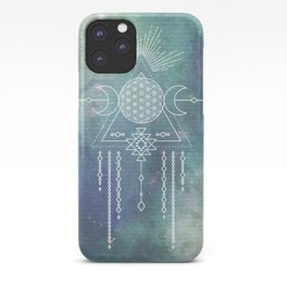 Mandala Flower of Life in Turquoise Stars iPhone Case