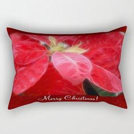 Mottled Red Poinsettia 2 Merry Christmas P5F1 Rectangular Pillow