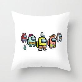 Among us spongebob squarepants characters Throw Pillow