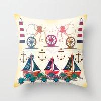 sailor Throw Pillows featuring Sailor by famenxt