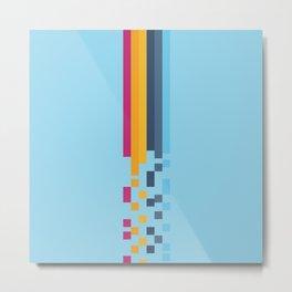 Classic 70s 80s Style Retro Stripes Pixel Drops - Aiko Metal Print