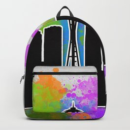 Seattle skyline silhouette Backpack