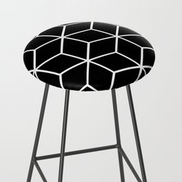 Black and White - Geometric Cube Design II Bar Stool